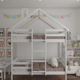 Детская двух ярусная кровать Домик из массива Sweet roof 160х80