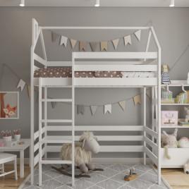 Детская кровать чердак из массива домик Top House 160х80