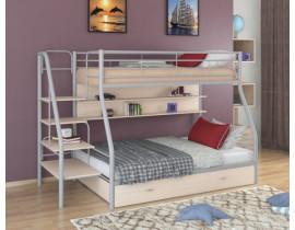 Двухъярусная кровать Толедо 1 ПЯ Цвет корпуса Серый Цвет фасада Дуб молочный