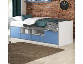 Детская кровать Дельта Сильвер 19.01 белая с синими фасадами с 2-мя ящиками