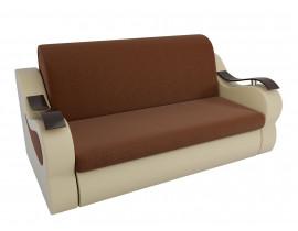 Прямой диван Меркурий рогожка коричневый эко кожа бежевый