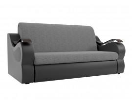 Прямой диван Меркурий  рогожка серый/зко кожа черный 1600