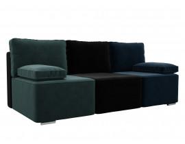 Прямой диван Радуга велюр MR бирюза/черный/синий