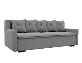 Прямой диван Витаре рогожка серый окантовка коричневый