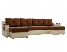 П-образный диван Меркурий  рогожка коричневый/эко кожа бежевый