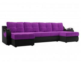 П-образный диван Меркурий вельвет фиолетовый/черный