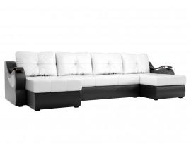 П-образный диван Меркурий эко кожа белый/черный