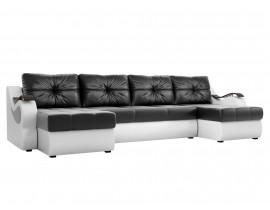 П-образный диван Меркурий эко кожа черный/белый