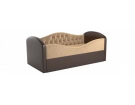 Детская кровать Сказка - Вельвет бежевый+экокожа коричневый цвет