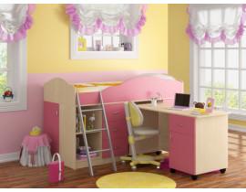 Кровать-чердак Дюймовочка-5 Набор 2 Розовый