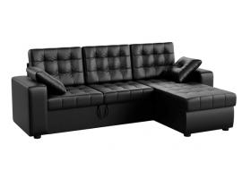 Угловой диван Камелот - Эко-кожа черный