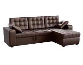 Угловой диван Камелот - Эко-кожа коричневая