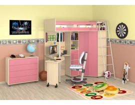 Кровать-чердак Теремок М-85 Розовый