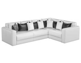 Угловой диван Мэдисон Long - Кожа белый черный белый