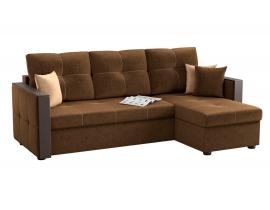 Угловой диван Валенсия - Вельвет коричневый