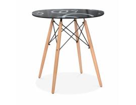 Стол обеденный Eames DSW Круги (Черный)