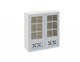 Шкаф верхний со стеклом и декором В-96-90-2ДРДс