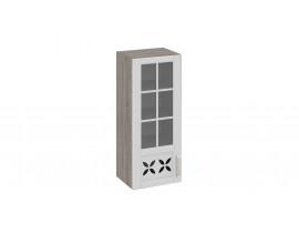 Шкаф верхний cо стеклом и декором В-96-40-1ДРДс(L)