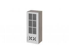 Шкаф верхний cо стеклом и декором В-96-40-1ДРДс(R)