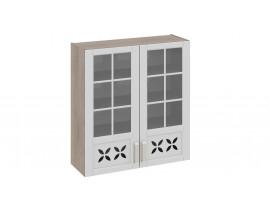 Шкаф верхний cо стеклом и декором В-96-90-2ДРДс