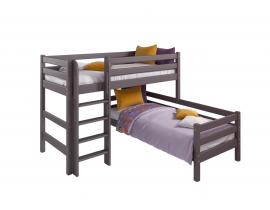 Вариант 7 Угловая кровать Соня Лаванда с прямой лестницей