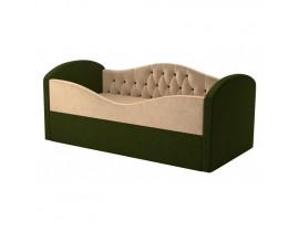 Детская кровать Сказка Люкс - Вельвет бежевый+зеленый цвет