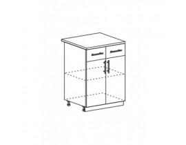 Техно шкаф нижний с 2 ящиками и створками ШН1Я-600
