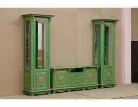 Гостиная Жасмин зеленая (краколет) с золотой патиной