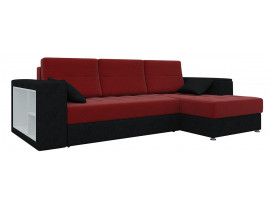 Угловой диван Атлантис - Красный+Черный