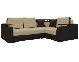 Угловой диван Комфорт - бежевый\коричневый
