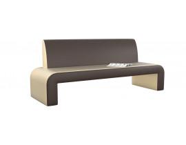 Кухонный диван Кармен прямой - Эко-кожа бежевая коричневая